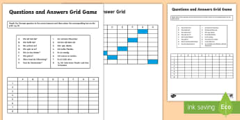 Questions and Answers Grid Game Activity Sheet German - German Activities, German questions, German basic phrases, activity sheet, worksheet, German all abo