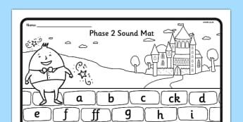 Humpty Dumpty Themed Phase 2 Sound Mat - humpty dumpty, phase 2, sound mat, phonics, letters, sounds
