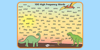100 High Frequency Words Mat Dinosaur Theme - 100, high frequency, dinosaur