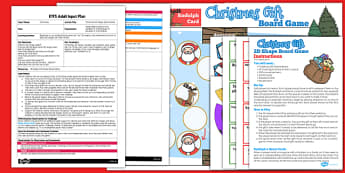 Christmas 2D Shape Board Game EYFS Adult Input Plan and Resource Pack - christmas, adult