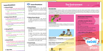 PlanIt - Science Year 2 - The Environment Planning Overview CfE - planit