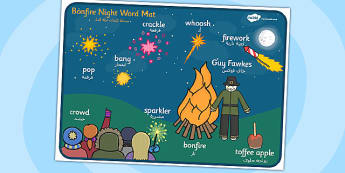 Bonfire Night Scene Word Mat Arabic Translation - arabic, bonfire night