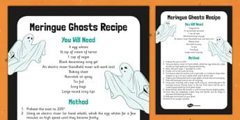 Meringue Ghosts Recipe - food, instructions, halloween, KS1, KS2