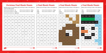 Christmas Phonics Phase 4 End Blend Mosaics - Phase 4, final blends, blends, Christmas, mosaic, phonics