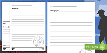Remembrance Day KS1 Thank You Letter Template Activity