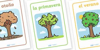 Spanish Seasons Display Posters - Seasons, season, autumn, winter, spring, summer, fall, seasons activity, seasons display, four seasons, MFL, Spanish, Modern Foreign Languages, foundation, languages, display
