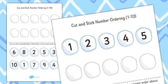Cut and Stick Number Ordering Snowball Activity 1-10 - snowball