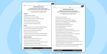 LKS2 Grammatical Consistency Sentence Correction Worksheet