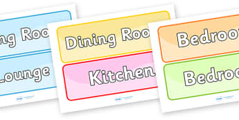 Rooms in the House Labels - rooms in the house labels, rooms, house, different, bathroom, kitchen, lounge, living room, bedroom, cellar, labels, signs, sticker, poster, sign