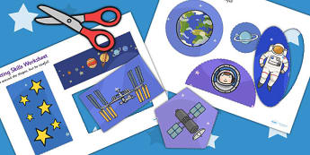 Space-Themed Cutting Skills Sheet - cut, fine motor skills