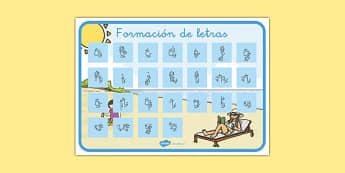 El tiempo y las estaciones del año Formación de letras-Spanish