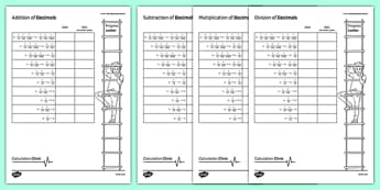 Calculation Clinic Student Self-Assessment Record Decimals - KS3, KS4, GCSE, Maths, calculation, addition, subtraction, multiplication, division, low ability, practise, assessment