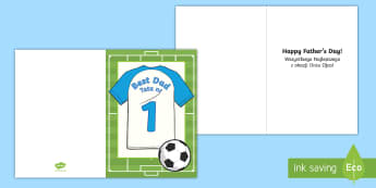 Football Themed Father's Day Gift Card Template English/Polish - fathers day, father, dad, daddy, grandad, grandpa, card, templet,EAL,Polish-translation