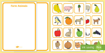 Fruit, Vegetables, Farm Animals and Pets Sorting Activity (No Visual Support)