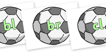 Initial Letter Blends on Footballs - Initial Letters, initial letter, letter blend, letter blends, consonant, consonants, digraph, trigraph, literacy, alphabet, letters, foundation stage literacy
