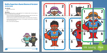 Build a Superhero Game Numeral Version Busy Bag Resource Pack for Parents - Superheroes, superhero, dice, number, superman, batman, spiderman, dice, count, hero