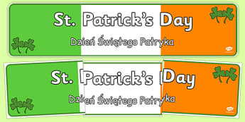 St. Patrick's Day Display Banner Polish Translation - polish, St Patricks Day, display banner, poster, display, Ireland, Irish, St Patrick, patron saint, leprechaun, 17 march
