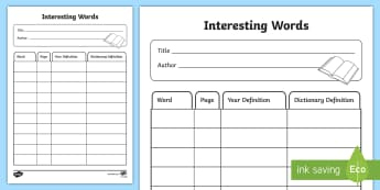 Interesting Words Reading Activity Sheet - NZ Literacy Resources, word work, daily 5, guided reading, reciprocal reading, literacy circle, inte