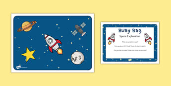 Space Exploration Activity Busy Bag Prompt Card and Resource Pack - Space, sensory, rice