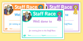 Sports Day Staff Race Certificates - sports day, certificates
