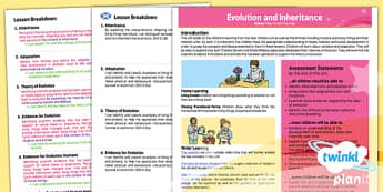 PlanIt - Science Year 6 - Evolution and Inheritance Planning Overview CfE - planit, CfE, evolution, inheritance, humans, Darwin