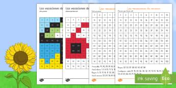 Ficha de actividad: Colorear con números - Verano - verano, colorear, números, 1-100, uno, cien, colorea, pintar, colores, cifras, vacaciones, fichas.