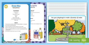 Water Playdough Recipe and Mat Pack - EYFS Water, water cycle, rain, rivers, sea, oceans
