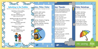 Rainy Day Songs and Rhymes Resource Pack - rainy day, song, rhyme, pitter patter, weather