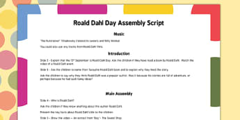 Roald Dahl Day Assembly Script - roald dahl, day, assembly, script