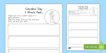 Columbus Day I Would Pack Activity Sheet, worksheet