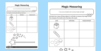 Magic Measuring Activity Sheet - Measurement, measuring, non-standard units, non standard units, worksheet, measure