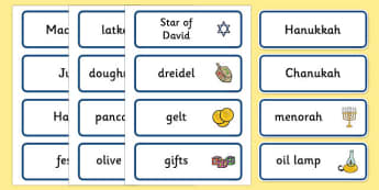 Hanukkah Word Cards - Religion, faith, word cards, flashcards, synagogue, hanukkah, jew, jewish, God, RE, rabbai