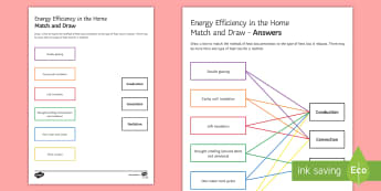 Energy Efficiency in the Home Match and Draw - Match and Draw, gcse, physics, energy efficiency, energy, energy in the home, heat loss, conduction,