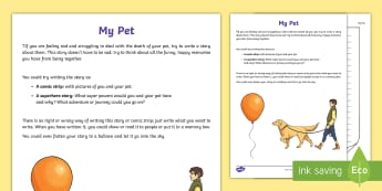 A Story About My Pet Activity Sheet - bereavement, young people, PSHCE, loss, emotions, worksheet
