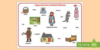 Cappuccetto Rosso Vocabolario Illustrato - cappuccetto, rosso, vocabolario, illustrato, illustrazioni, nomi, scruttira, scrivere, esercizio, it
