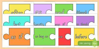 Conjunctions on Jigsaw Pieces Display Cut-Outs
