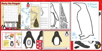 Monty The Penguin Activity Pack - monty, penguin, christmas, pack