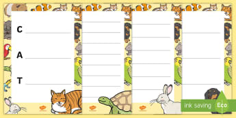 Pets Acrostic Poem Pack - Pets, cat, dogs, rabbits, budgie, guinea pig, hamster, snake, poems, poetry