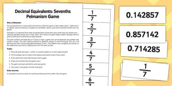 Year 6 Decimal Equivalents and Sevenths Pelmanism Game - maths, numeracy, ks2, uks2, matching, memory game, activity, starter