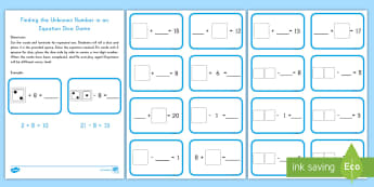 Finding the Unknown Number in Single Digit  Equations Dice Game - dice, unknown number, unknown, algebra, missing number, unknowns in equations, single digit equation
