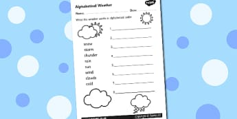 Weather Alphabet Ordering Worksheet - weather, alphabet, a-z