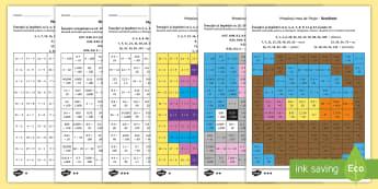 Mozaic de Paște -  Rezolvă exercițiile și colorează după codul culorilor - Fișe diferențiate - înmulțire, înmulțiri, matematica, fișe, exerciții, română, materiale, înmulțirea,Romanian