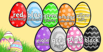 Colour Words on Easter Eggs Polish Translation - polish, colours, colour words, easter, egg