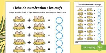 Fiche de numération : Les oeufs dans le nid - poule, math, cycle 1, cycle 2, cycle 3, hen, chicken,Pâques, Easter, KS1, œufs, numération,French