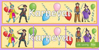 Karneval Banner für die Klassenraumgestaltung - Karneval, Banner,German