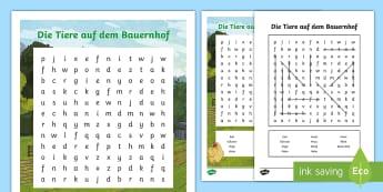 Farm Animals Word Search German - Animals, Tiere, Bauernhof, Farm Animals, German, MFL, DAF, DAZ