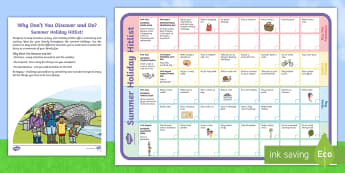 Why Don't You Discover and Do? Summer Holiday Hitlist Poster  - summer holiday, activities, home, explore, Investigate