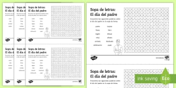 Father's Day Differentiated Word Search Spanish - KS3, Spanish, Father, day, festivities, events, culture, dia, padre, celebrations, differentiated, w