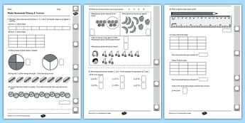 Year 2 Maths Assessment: Fractions Term 1 - fraction, assessments, maths, year 2, term 1