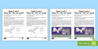 Linguistic Phonics Stage 5 and 6 Phase 3a, 'ow' Sound Activity Sheet